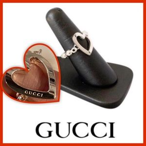 NEW AUTHENTIC GUCCI STERLING SILVER HEART 💜 RING